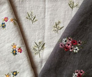 cloth, embroidery, and flowers image