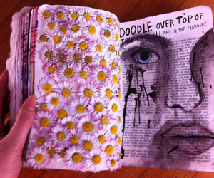 drawing, flowers, and wreck this journal image