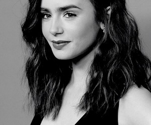 lily collins, black and white, and beautiful image
