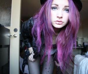 girl, hair, and purple hair image