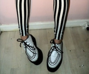black and white, creepers, and shoes image