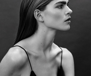 black and white, style, and face image