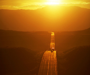 road, sunset, and car image