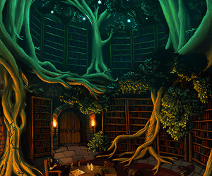 trees, library, and art image