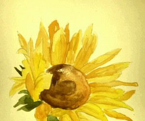 art, flower, and sunflower image