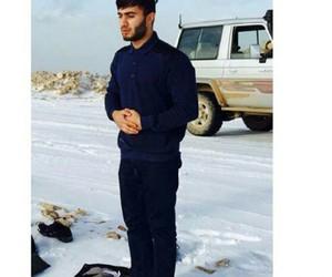 man, muslim, and snow image