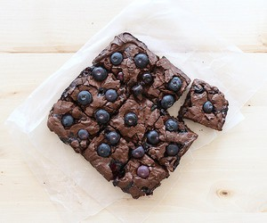 blueberry, brownie, and food image