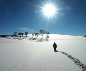 man, nature, and snow image