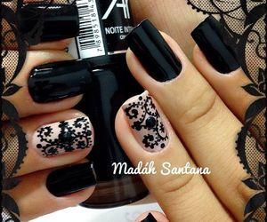 nails, black, and nail polish image