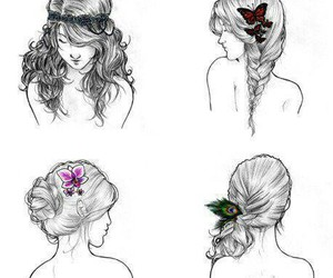draw, girls, and hair image