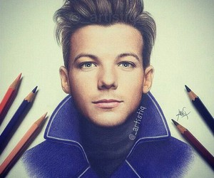 one direction, drawing, and louis tomlinson image