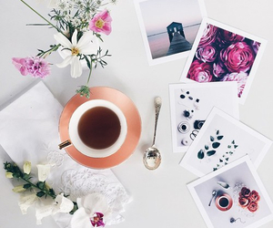 flowers, coffee, and tea image