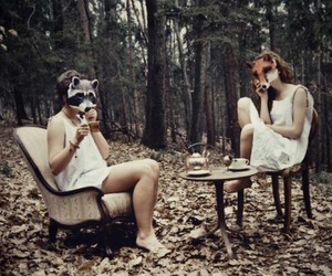 girl, mask, and forest image