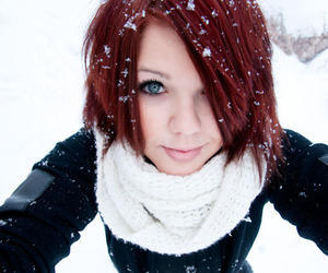 redhead and snow image