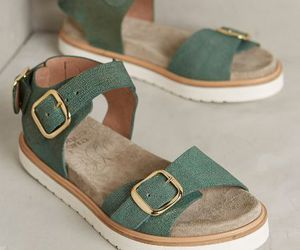 sandals, green, and shoes image