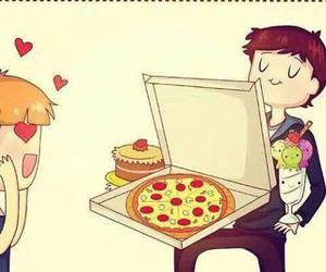 love, pizza, and food image