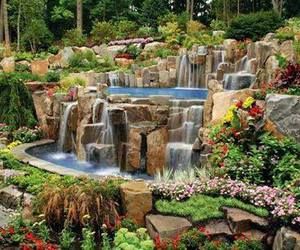 garden, nature, and waterfall image