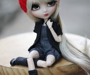 beret, blonde, and doll image