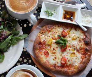 coffee, pizza, and yummy image