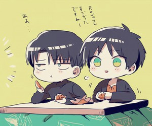 levi, attack on titan, and eren image