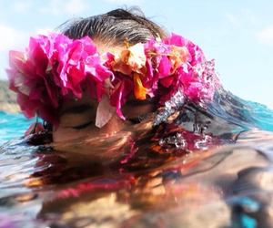 girl, tropical, and flowers image