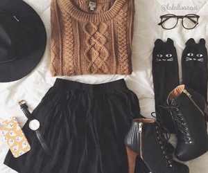 fall, hat, and heels image