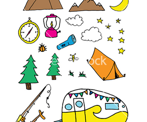 camping, doodle, and forest image