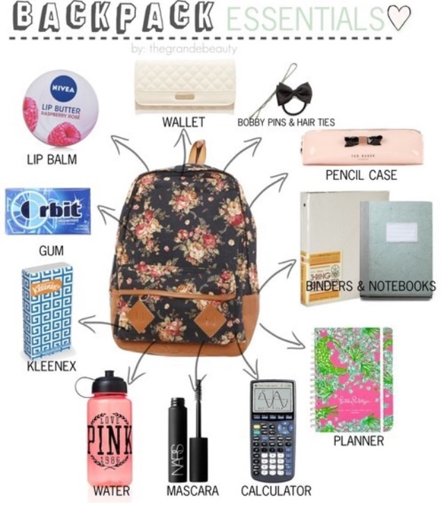 school, backpack, and essentials image