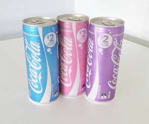 coca cola, pink, and blue image