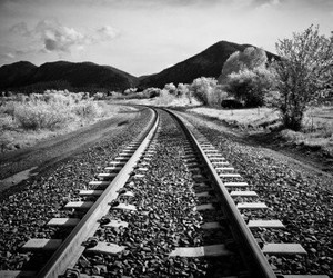 black and white, black, and train image