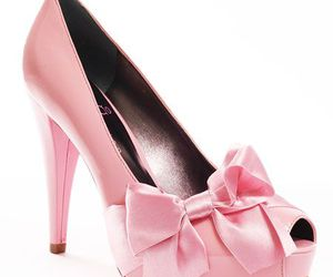 fashion, pink cone heels, and high heels image
