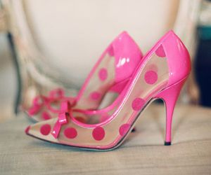 bow, pink, and high heels image