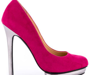 fashion, pink kitten heels, and high heels image