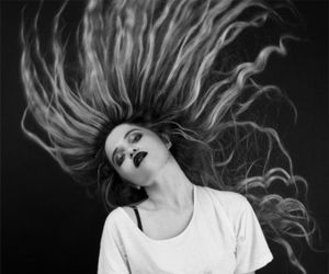 hair, sky ferreira, and black and white image