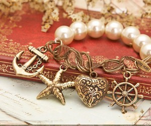bracelet, heart, and pearls image