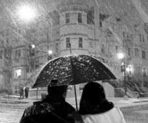 snow, couple, and umbrella image
