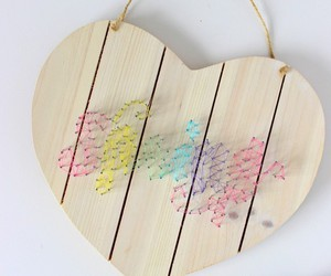 heart shape, wood, and string art image