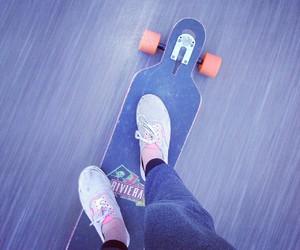 girl, longboard, and riviera image