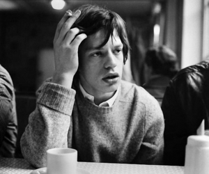 mick jagger, black and white, and coffee image
