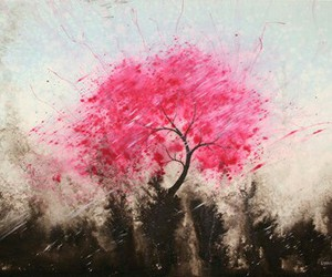 art, painting, and pink tree image