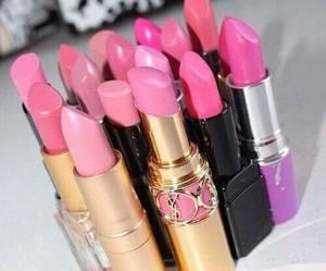 pink, lipstick, and make up image
