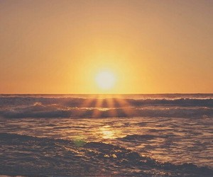 sun, beach, and sunset image