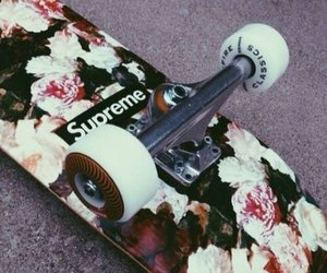 supreme, flowers, and skate image