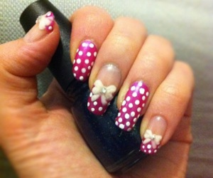 bow, nails, and pink image