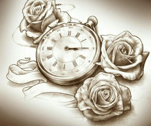 rose, clock, and drawing image