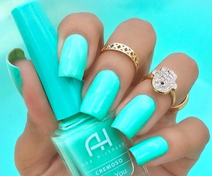 neon, gold rings, and neon blue image