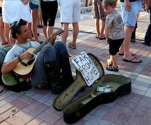 boy, guitar, and homeless image