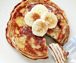 food, banana, and pancakes image