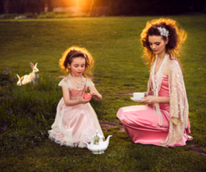 girl, rabbit, and mother image