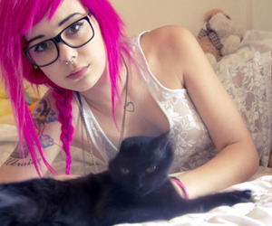cat, pink hair, and plum sg image